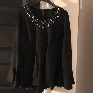 Plus Size Long Sleeve Sequined Collar Peplum Top